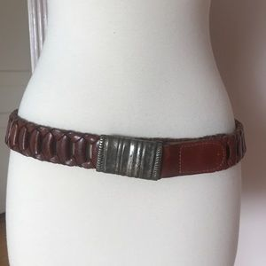 Woven Leather Belt with Solid Metal Buckle